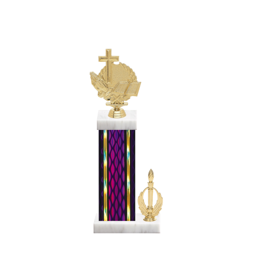 """14"""" Religion Trophy with Religion Figurine, 6"""" colored column, side trim and marble base."""