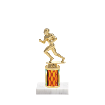 "7"" Football Trophy with Football Figurine, 2"" colored column and marble base."