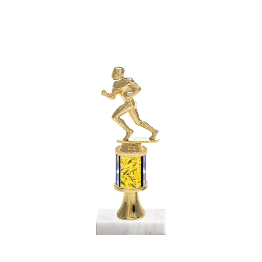 "10"" Football Trophy with Football Figurine, 2"" colored column, gold riser and marble base."
