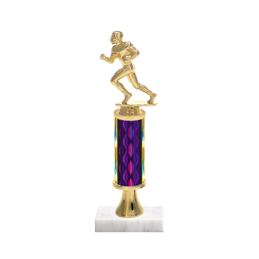 "12"" Football Trophy with Football Figurine, 4"" colored column, gold riser and marble base."