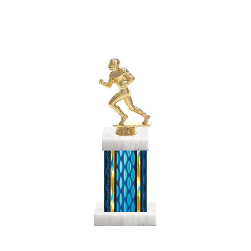 """11"""" Football Trophy with Football Figurine, 4"""" colored column and marble base."""