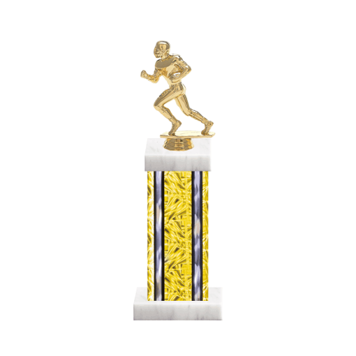 """13"""" Football Trophy with Football Figurine, 6"""" colored column and marble base."""