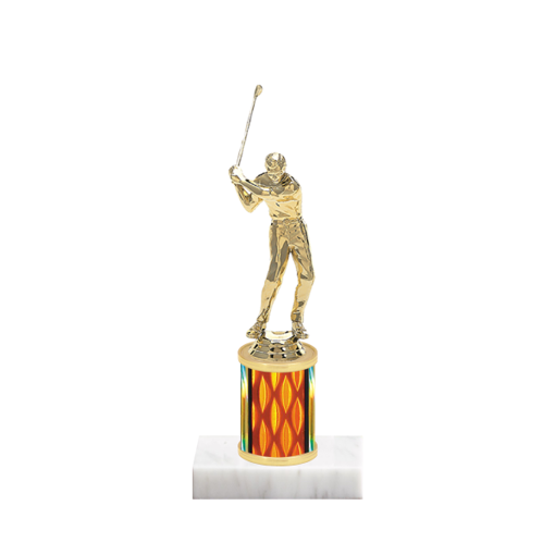 "7"" Golf Trophy with Golf Figurine, 2"" colored column and marble base."