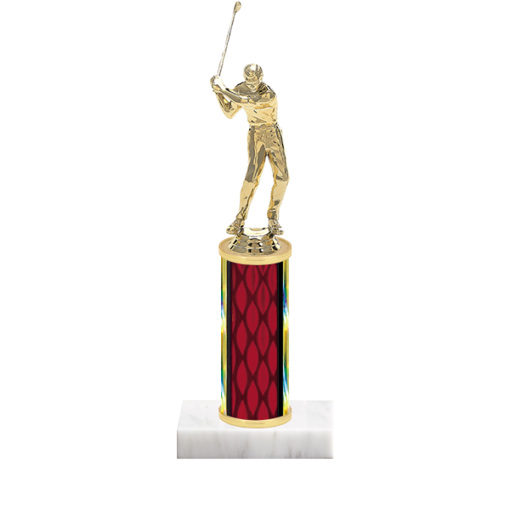 """9"""" Golf Trophy with Golf Figurine, 4"""" colored column and marble base."""
