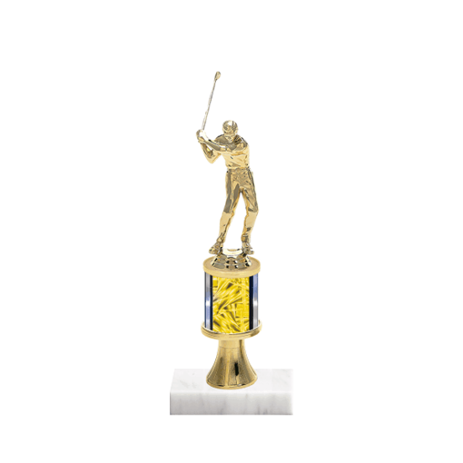 "10"" Golf Trophy with Golf Figurine, 2"" colored column, gold riser and marble base."