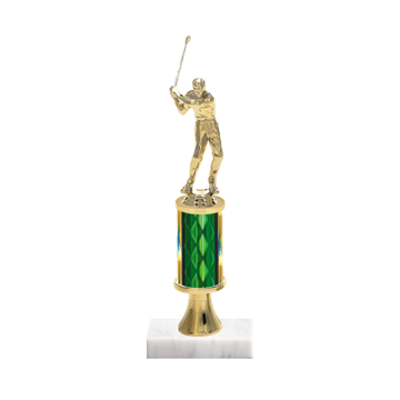 "11"" Golf Trophy with Golf Figurine, 3"" colored column, gold riser and marble base."