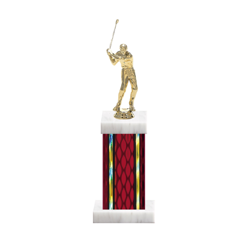 "12"" Golf Trophy with Golf Figurine, 5"" colored column and marble base."