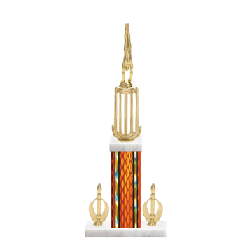 """18"""" Gymnastics Trophy with Gymnastics Figurine, 7"""" colored column, double side trim and marble base."""