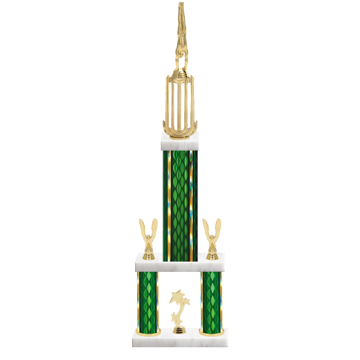 """26"""" Multi-Tier Gymnastics Trophy with Gymnastics Figurine, 9"""" colored top column, 5"""" colored bottom columns, cup riser, double side trim and center base trim."""