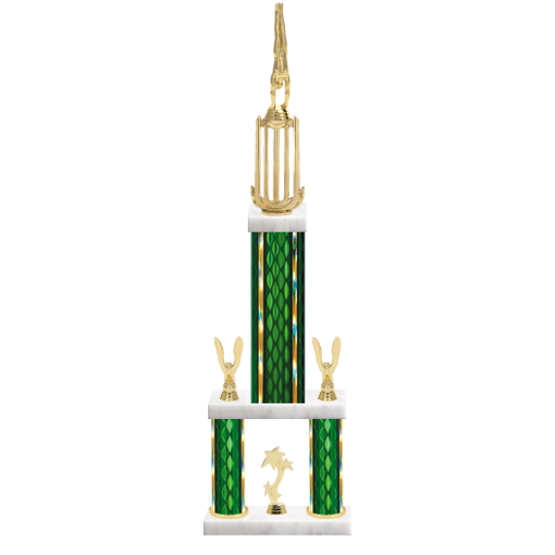 "26"" Multi-Tier Gymnastics Trophy with Gymnastics Figurine, 9"" colored top column, 5"" colored bottom columns, cup riser, double side trim and center base trim."