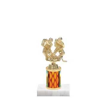 "7"" Hockey Trophy with Hockey Figurine, 2"" colored column and marble base."