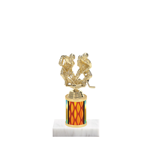 """7"""" Hockey Trophy with Hockey Figurine, 2"""" colored column and marble base."""