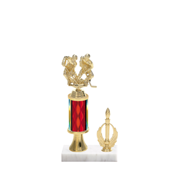 "11"" Hockey Trophy with Hockey Figurine, 3"" colored column, gold riser, side trim and marble base."