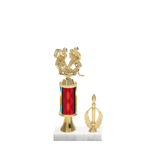 """11"""" Hockey Trophy with Hockey Figurine, 3"""" colored column, gold riser, side trim and marble base."""