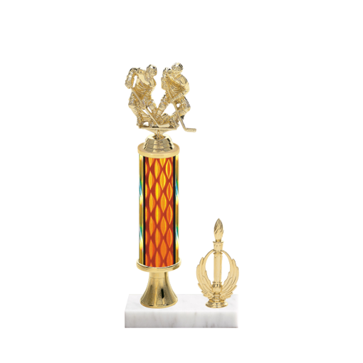 "13"" Hockey Trophy with Hockey Figurine, 5"" colored column, gold riser, side trim and marble base."