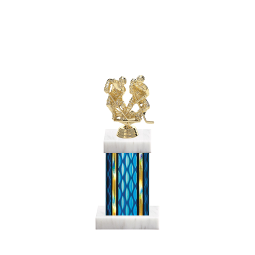 "11"" Hockey Trophy with Hockey Figurine, 4"" colored column and marble base."