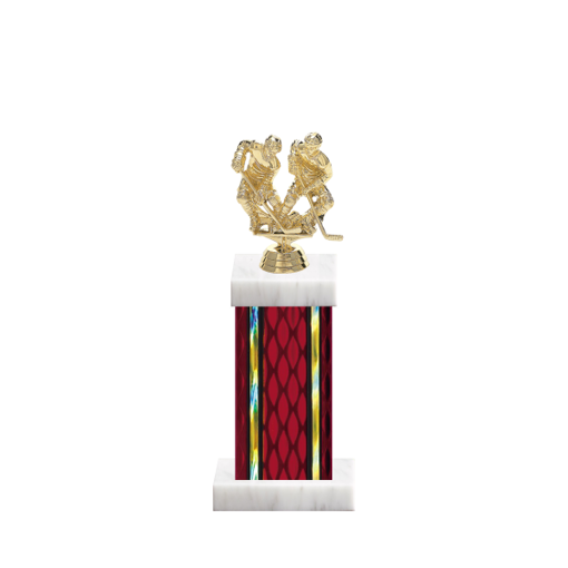 """12"""" Hockey Trophy with Hockey Figurine, 5"""" colored column and marble base."""