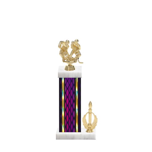 """14"""" Hockey Trophy with Hockey Figurine, 6"""" colored column, side trim and marble base."""
