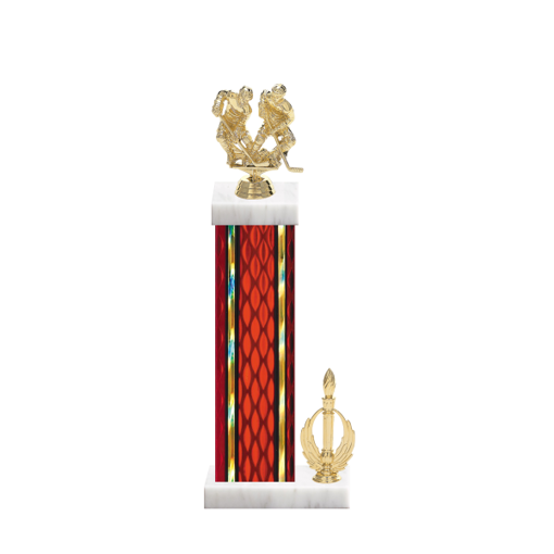 "15"" Hockey Trophy with Hockey Figurine, 7"" colored column, side trim and marble base."