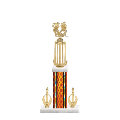 "18"" Hockey Trophy with Hockey Figurine, 7"" colored column, double side trim and marble base."