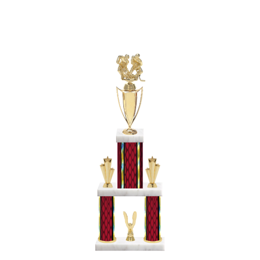 "22"" Multi-Tier Hockey Trophy with Hockey Figurine, 5"" colored top column, 5"" colored bottom columns, cup riser, double side trim and center base trim."