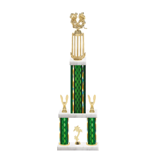 """26"""" Multi-Tier Hockey Trophy with Hockey Figurine, 9"""" colored top column, 5"""" colored bottom columns, cup riser, double side trim and center base trim."""