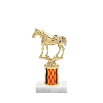 """7"""" Horses   Rodeo Trophy with Horses   Rodeo Figurine, 2"""" colored column and marble base."""