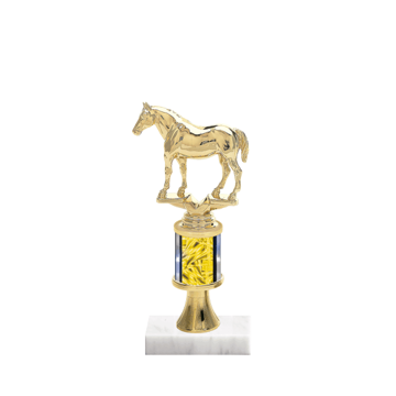 """10"""" Horses   Rodeo Trophy with Horses   Rodeo Figurine, 2"""" colored column, gold riser and marble base."""