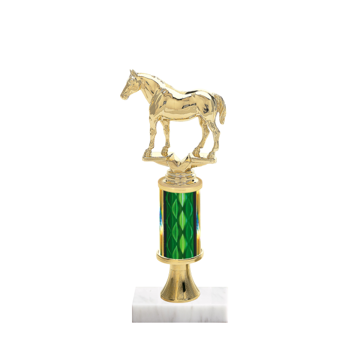 """11"""" Horses   Rodeo Trophy with Horses   Rodeo Figurine, 3"""" colored column, gold riser and marble base."""