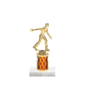 "7"" Horseshoe Trophy with Horseshoe Figurine, 2"" colored column and marble base."