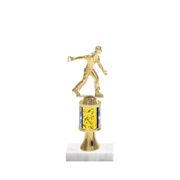 "10"" Horseshoe Trophy with Horseshoe Figurine, 2"" colored column, gold riser and marble base."