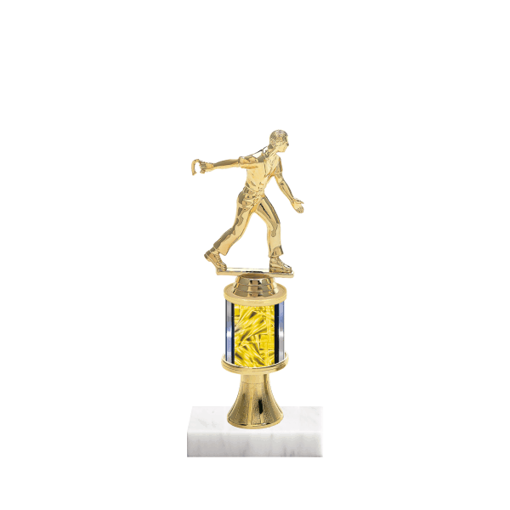 """10"""" Horseshoe Trophy with Horseshoe Figurine, 2"""" colored column, gold riser and marble base."""