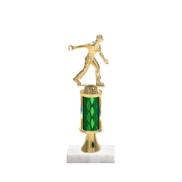 "11"" Horseshoe Trophy with Horseshoe Figurine, 3"" colored column, gold riser and marble base."