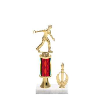 "11"" Horseshoe Trophy with Horseshoe Figurine, 3"" colored column, gold riser, side trim and marble base."