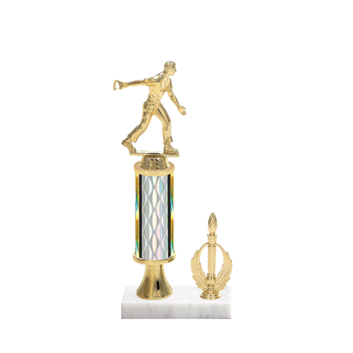 """12"""" Horseshoe Trophy with Horseshoe Figurine, 4"""" colored column, gold riser, side trim and marble base."""