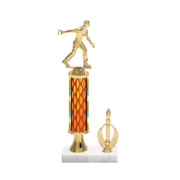 "13"" Horseshoe Trophy with Horseshoe Figurine, 5"" colored column, gold riser, side trim and marble base."