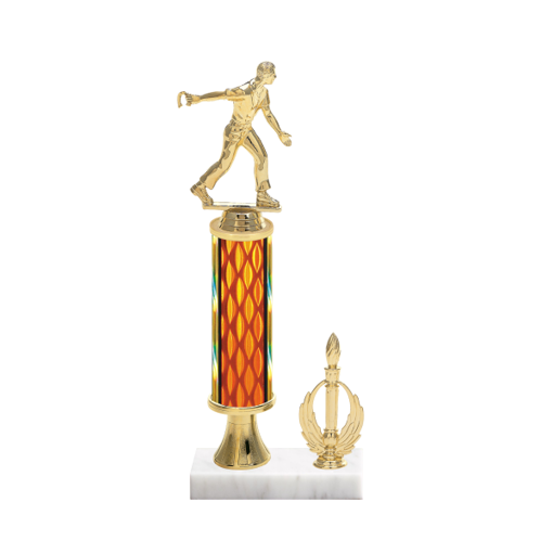 """13"""" Horseshoe Trophy with Horseshoe Figurine, 5"""" colored column, gold riser, side trim and marble base."""