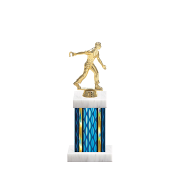 "11"" Horseshoe Trophy with Horseshoe Figurine, 4"" colored column and marble base."