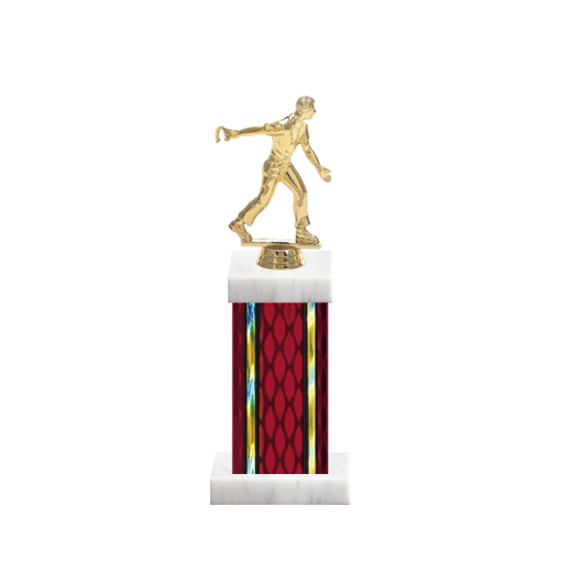 "12"" Horseshoe Trophy with Horseshoe Figurine, 5"" colored column and marble base."