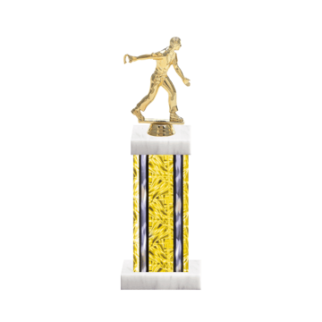 "13"" Horseshoe Trophy with Horseshoe Figurine, 6"" colored column and marble base."