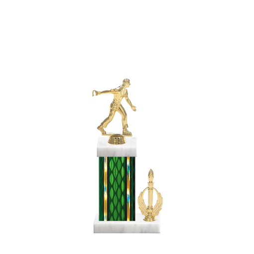 "13"" Horseshoe Trophy with Horseshoe Figurine, 5"" colored column, side trim and marble base."