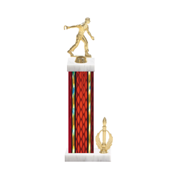 """15"""" Horseshoe Trophy with Horseshoe Figurine, 7"""" colored column, side trim and marble base."""