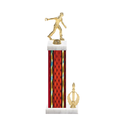 "15"" Horseshoe Trophy with Horseshoe Figurine, 7"" colored column, side trim and marble base."