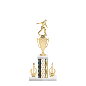 """16"""" Horseshoe Trophy with Horseshoe Figurine, 5"""" colored column, double side trim and marble base."""