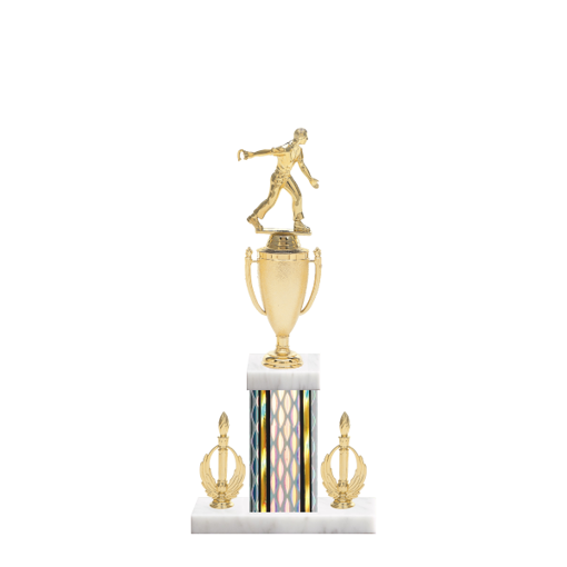 "16"" Horseshoe Trophy with Horseshoe Figurine, 5"" colored column, double side trim and marble base."