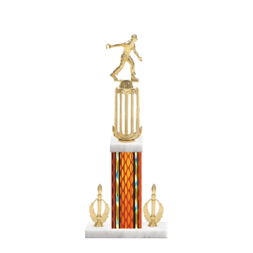"""18"""" Horseshoe Trophy with Horseshoe Figurine, 7"""" colored column, double side trim and marble base."""