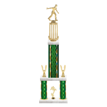 """26"""" Multi-Tier Horseshoe Trophy with Horseshoe Figurine, 9"""" colored top column, 5"""" colored bottom columns, cup riser, double side trim and center base trim."""