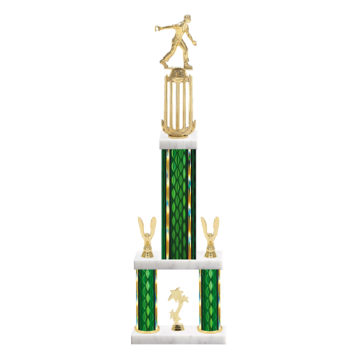 "26"" Multi-Tier Horseshoe Trophy with Horseshoe Figurine, 9"" colored top column, 5"" colored bottom columns, cup riser, double side trim and center base trim."