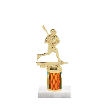 "7"" Lacrosse Trophy with Lacrosse Figurine, 2"" colored column and marble base."