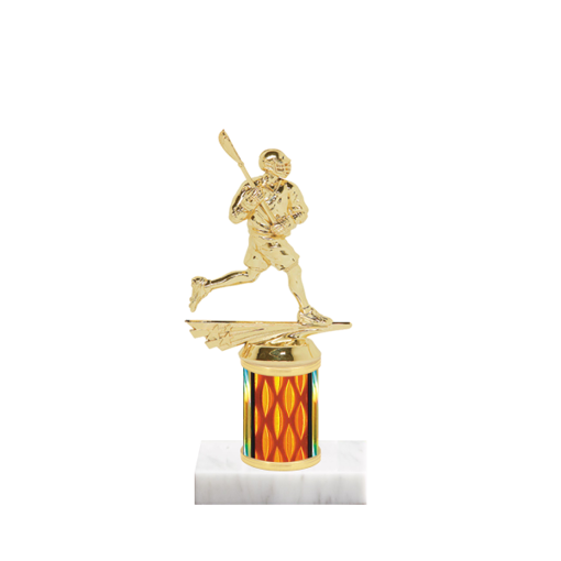 """7"""" Lacrosse Trophy with Lacrosse Figurine, 2"""" colored column and marble base."""